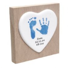 Baby Hand and Foot Print Ceramic Heart on Wooden Block - Unique Baby Keepsake